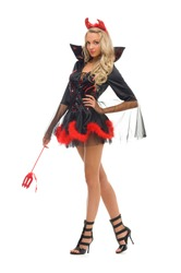 woman in carnival costume.  Devil shape. Isolated image