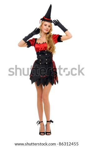 woman in carnival costume.  Witch shape. Isolated image