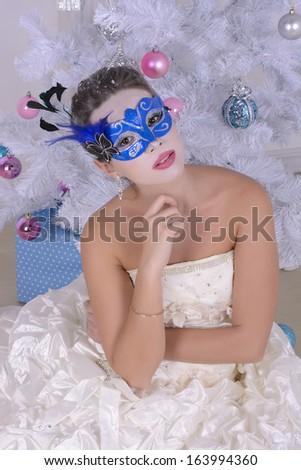 Woman in carnival mask