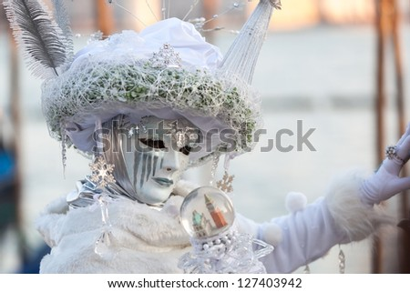 woman in carnival mask on Venice carnival