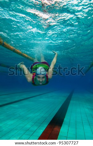Women Swimming Underwater with Clothes