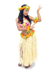 Woman in costume dancer Hawaii Hula dancing isolated on white background.