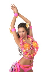 Woman in costume dancer Hawaii Hula dancing isolated on white background. Beautiful exotic girl with Hawaiian accessories