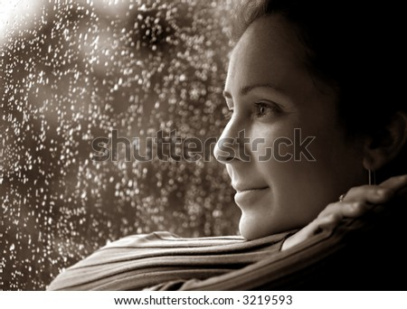 Woman in Deep thought  Relaxing During The Rain