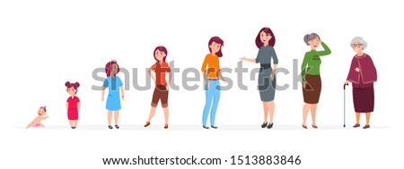 Woman in different ages. Cartoon baby girl teenager, adult women elderly person. Growth stages family characters