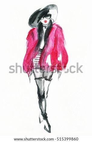 Woman in elegant fur coat. Watercolor fashion illustartion