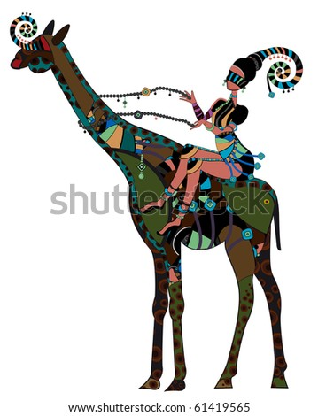 Woman in ethnic style sits on the back of a giraffe (raster version)