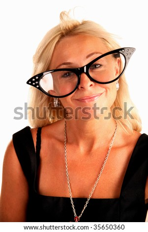 Woman in funny big glasses