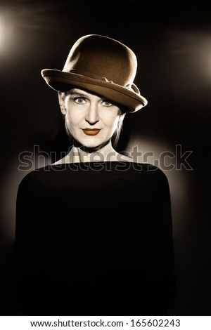 Woman in hat retro vintage portrait elegant fashion style senior lady 60 years old