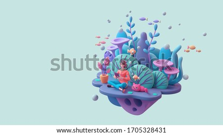 Woman in headphones learning online with tablet at home. Brunette girl enjoys listening to music from mobile phone deep underwater with cat, fish, coral reefs. 3d render on light turquoise backdrop