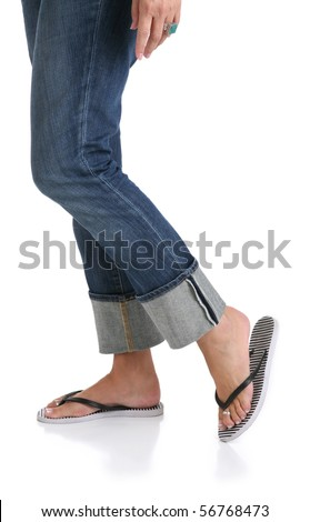 Woman in Jeans with Feet in Sandals