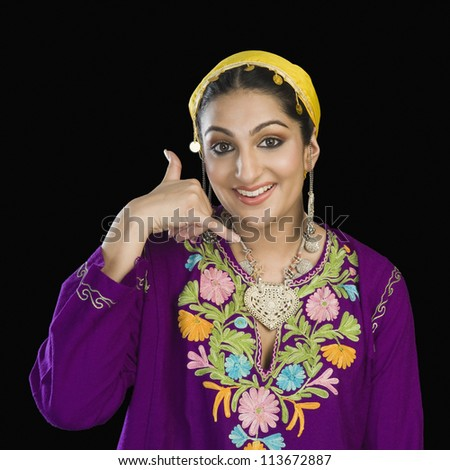 Kashmiri Model Woman In Kashmiri Dres...