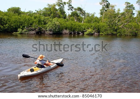Woman In Kayak Darling Wildlife Refuge Sanibel Florida