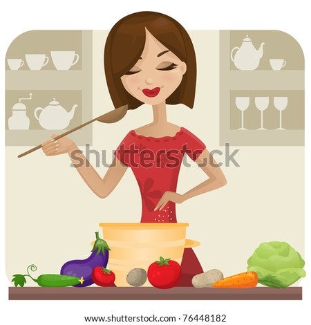 Woman in kitchen (raster version)