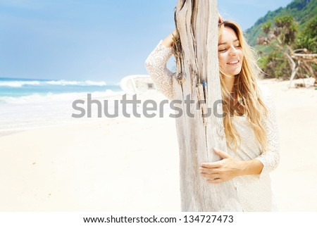 woman in knitted summer dress