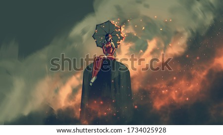 woman in leather suit holds a burning umbrella sitting sitting on a structure in a polluted city, digital art style, illustration painting