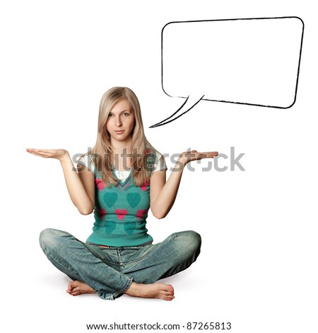 woman in lotus pose with open hands with speech bubble