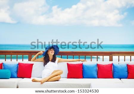 woman in luxury resort in bali