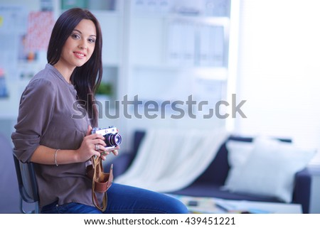 woman in modern equipped art studio #439451221