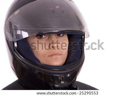 woman in motor-cycle helmet on white background