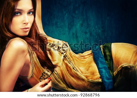 woman in oriental style clothes, studio shot