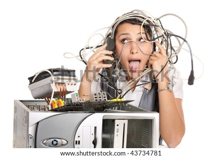 woman in panic having problems with computer trying to reach support line