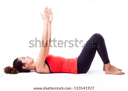 woman in pilates action ( isolated )