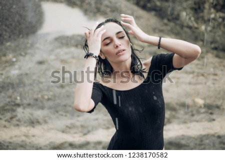 Woman in rain. Picture emotion woman. Mood with girls beach. Sad female mood. Woman emotions