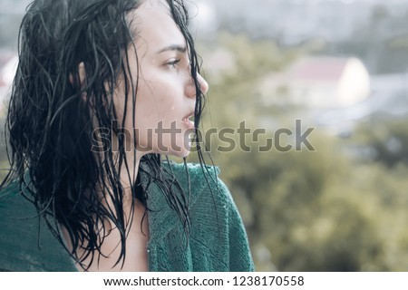 Woman in rain. Picture emotion woman. Sad female mood. Woman emotions. Cry