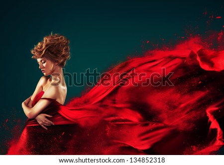 Woman In Red Blowing Flying Red Dress Dissolving In Splash