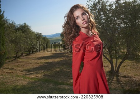 Woman in red dress among the olive trees #220325908