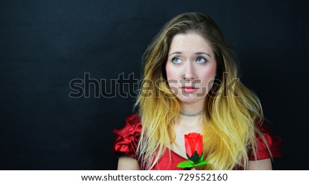 woman in red dress and rose #729552160
