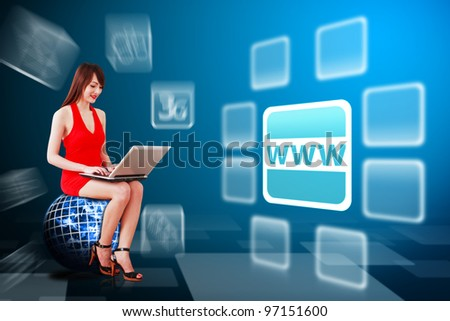Woman in red dress and world wide web icon : Elements of this image furnished by NASA - stock photo