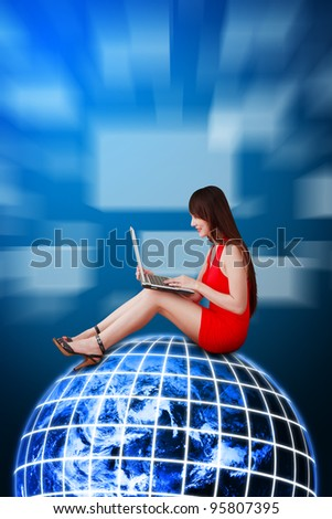 Woman in red dress on global network