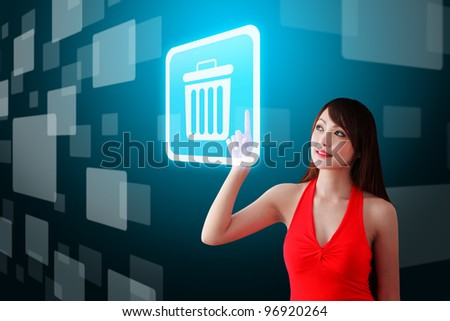 Woman in red dress touch the Bin icon