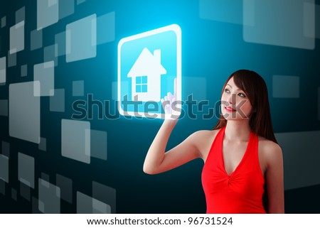 woman in red dress touch the house icon
