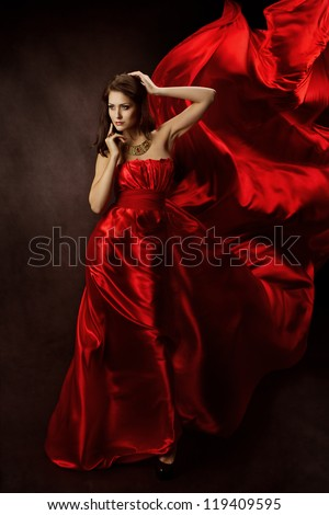 Woman in Red Dress with Flying Fabric, Gown Cloth flowing fluttering on Wind