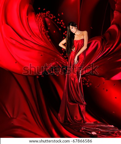 woman in red dress with long hair and hearts  on red drapery