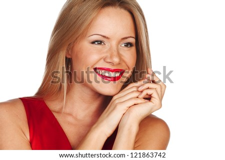 woman in red isolated on white