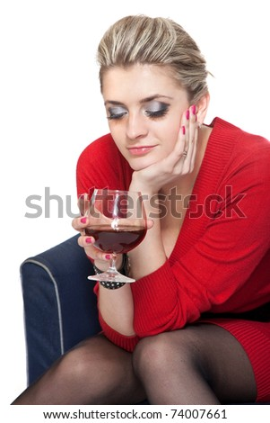Woman in Red with wine glass on white