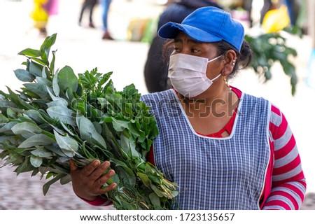 Woman in respiratory mask sells plants of eucalyptus in market during coronavirus pandemic in market in Cusco, Peru in Latin South America. Epidemic of coronavirus covid-19