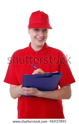 woman in service dress with clipboard