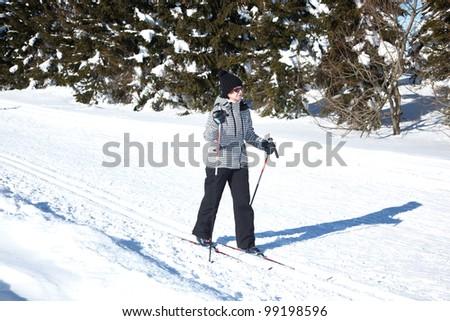 Woman in ski cross