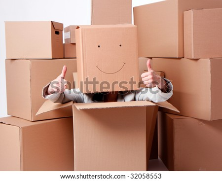 woman in smile cardboard box on head, sitting in carton box, o.k.