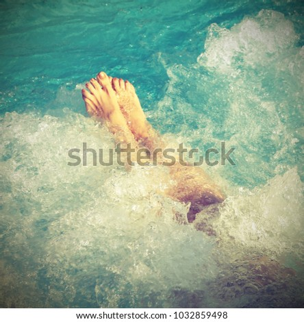 woman in spa pool and whirlpool ...