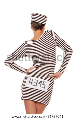 woman in striped dress for prisoners from back isolated on white