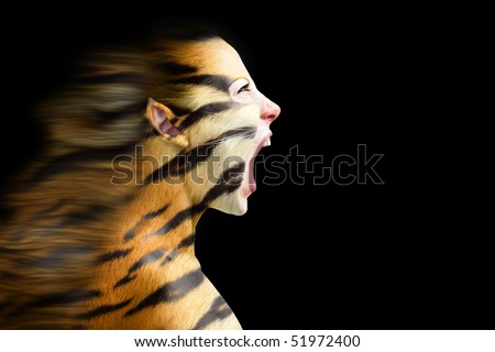 woman in stylized tiger with  flowing mane