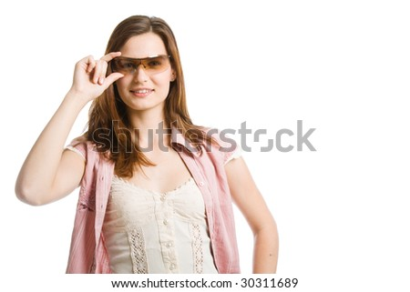 Woman in sunglasses. Isolated on white background