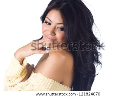 Woman in sweater on white  background