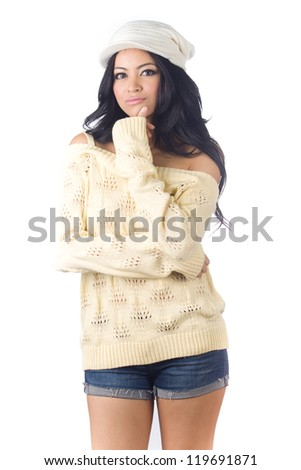 Woman in sweater with gloves  on white  background